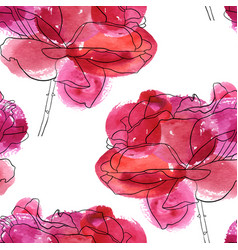 Seamless pattern with flowers of rose vector