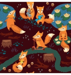 Seamless pattern with little cute foxes Cartoon vector