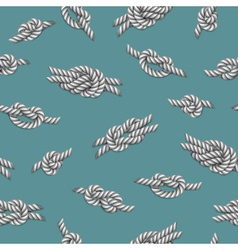 Seamless pattern with white ropes and marine knots vector image vector image