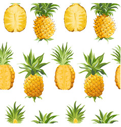 seamless pineapple pattern tropical fruit vector image