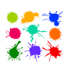 set cartoon blots and splatters multicolored vector image