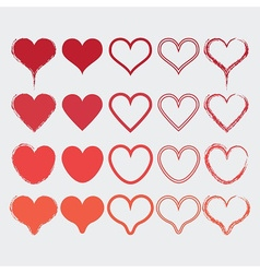 Set different heart shapes icons in modern red vector