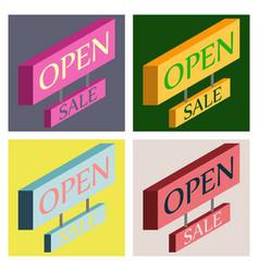 Set of open door sign label with text in flat vector