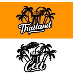 set thailand and goa hand written lettering vector image