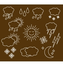 Set thin and clean outline weather vector image vector image