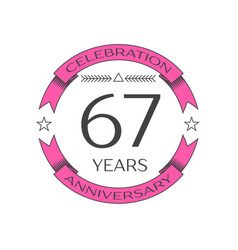 sixty seven years anniversary celebration logo vector image