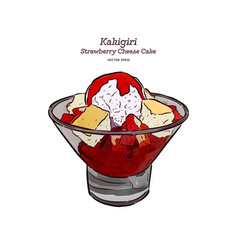 Strawberry shave ice or kakigori hand draw vector