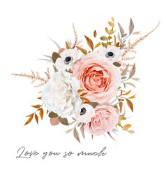 Stylish floral bouquet design peach rose flowers vector