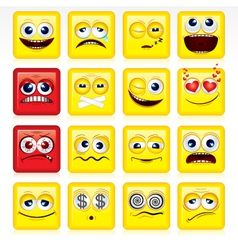 stylized square shaped yellow smileys vector image