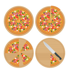 tasty pizza with vegetables ham rucola and vector image