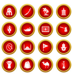 turkey travel icons set simple style vector image