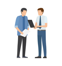 two men discusses business plan businessmen vector image