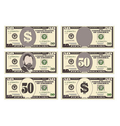 usa banking currency cash symbol 50 dollars bill vector image