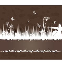 vintage background with grass vector image