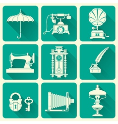 Vintage Objects Icons vector image vector image