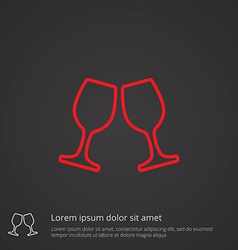 wineglasses outline symbol red on dark background vector image
