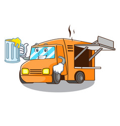 with juice food truck festival on shape cartoon vector image