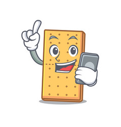 With phone graham cookies character cartoon vector