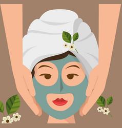 Woman avatar on spa vector