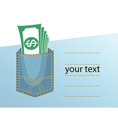 yeans pocket money vector image