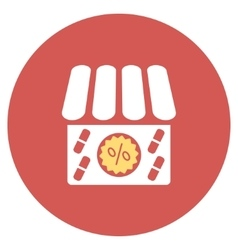 Drugstore sale flat round icon vector