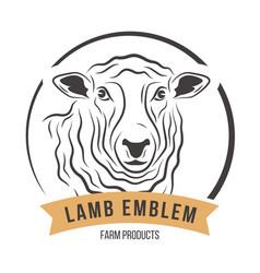 lamb head silhouette emblem label vector image