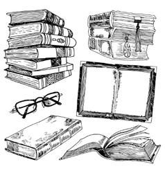 Set of books sketch vector image