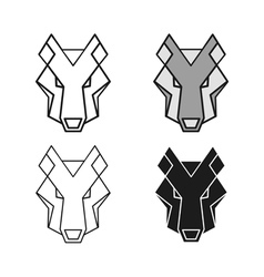 Wolf geometric head set vector image vector image