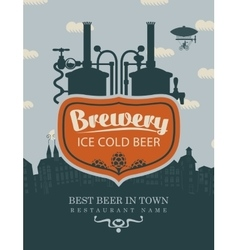 Brewery beer in old town vector