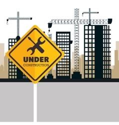 Buildings under construction icon vector
