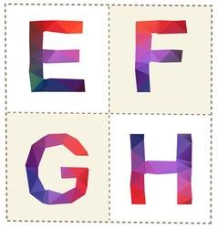 colorful polygonal alphabet slim vector image