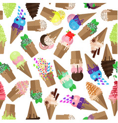 ice cream cone seamless pattern flake and scoops vector image vector image
