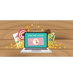 online food business internet money gold growth vector image vector image