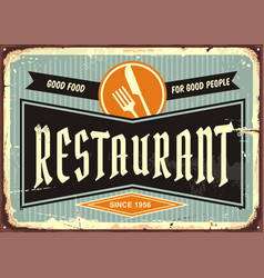 restaurant sign with knife and fork symbol vector image vector image