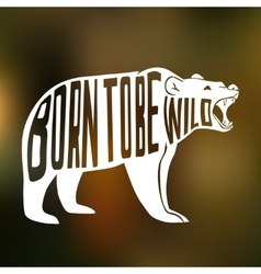 Silhouette of wild bear with text inside on blur vector image vector image
