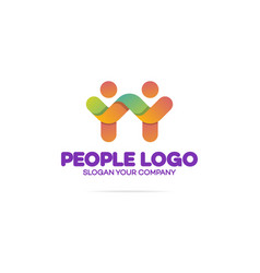 support community logo consisting as two people vector image vector image
