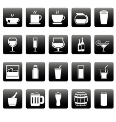White drink icons on black squares vector image