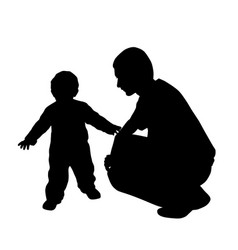 affectionate father looking at his baby walking vector image