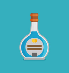 flat bottle with alcohol icon vector image