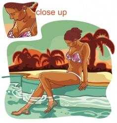girl in swimming pool vector image