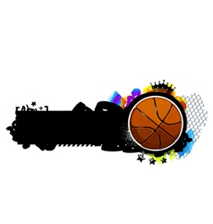 Graffiti image with basketball vector image