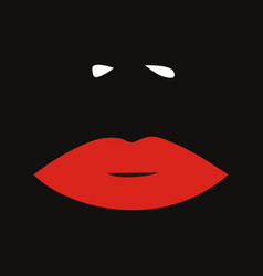 red feminine lips and nose fashion black vector image