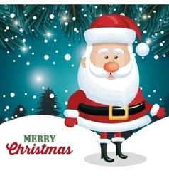 santa claus card merry christmas snowflake pine vector image vector image