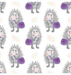 Seamless pattern with hedgehog vector image vector image