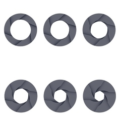 Set of black camera shutter icons on white vector image vector image