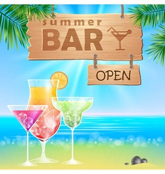 Summer seaside view poster Cocktails bar vector image