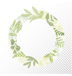 circle frame with green branches and leaves vector image vector image