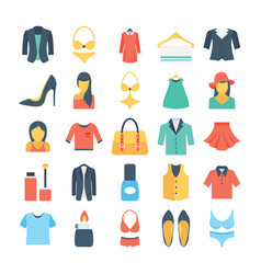 fashion and clothes colored icons 2 vector image
