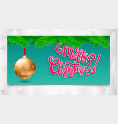 merry christmas calligraphic lettering on banner vector image vector image