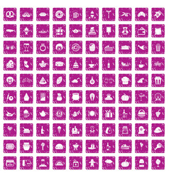 100 bounty icons set grunge pink vector